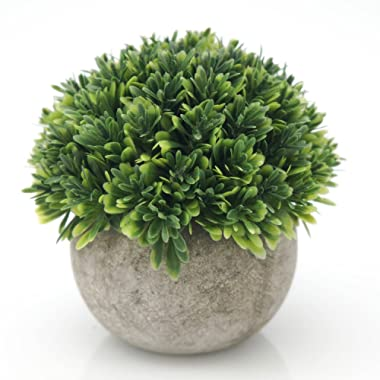 Velener Mini Plastic Plants Fake Melaleuca Grass with Pots for Home Decor (Green)