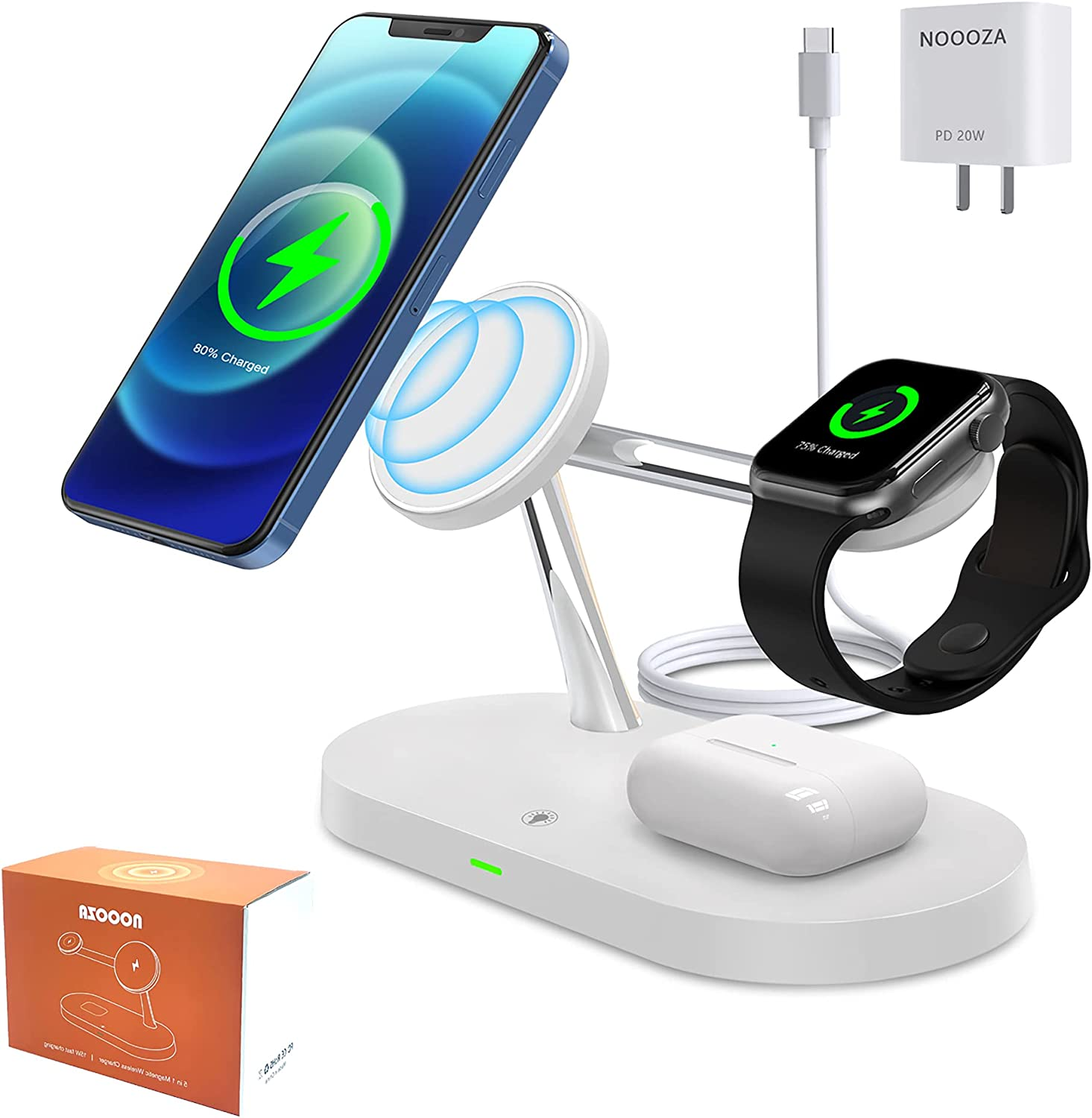 NOOOZA 3 in 1 Magnetic Wireless Charger Fast Charging Station Dock with 20 W QC3.0 Adapter Compatible with iPhone 12/12 Pro Max/Mini/AirPods Pro/AirPods 2 Magsafe Case iwatch Series, White: Electronics