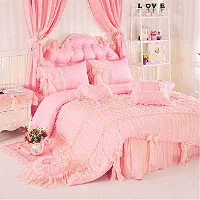 Auvoau Princess Bed Skirt Set Bedding Princess Bedding Duvet Covet Set Korean Version of The Cotton Princess Lace Bedding Girl Bedding Set 4Piece(Pink,Queen): Home & Kitchen