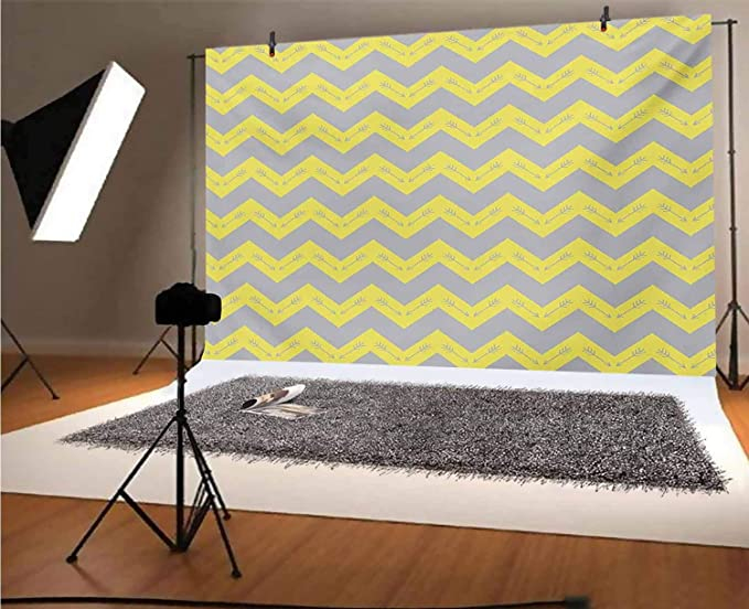 8x12 FT Modern Vinyl Photography Backdrop,Pastel Chevrons Peru Zigzag Lines in Green Toned Geometric Contemporary Background for Baby Birthday Party Wedding Studio Props Photography
