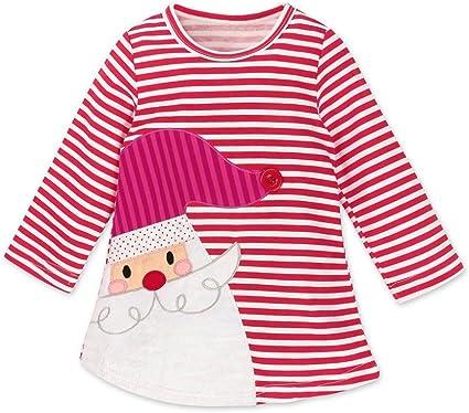 Toddler Kids Baby Girls Santa Striped Princess Dress Christmas Outfits Clothes