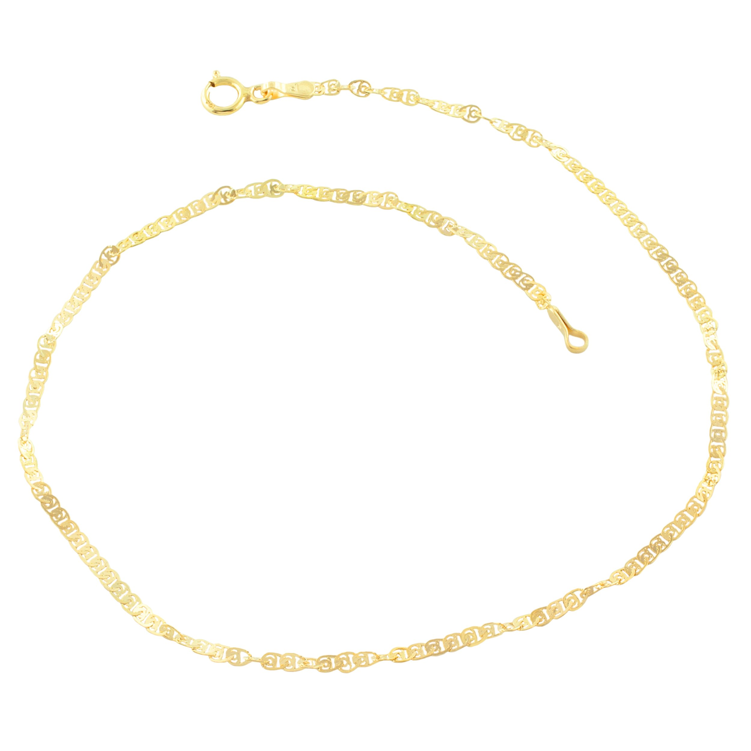 10k Yellow Gold Flat Twisted Love Link Anklet (1.85mm, 10 inch)