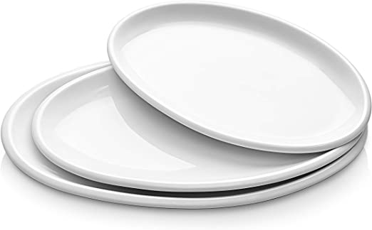 Dowan Porcelain Platters Oval Serving Plates For Parties 12 Inches 14 Inches 155 Inches Set Of 3 White