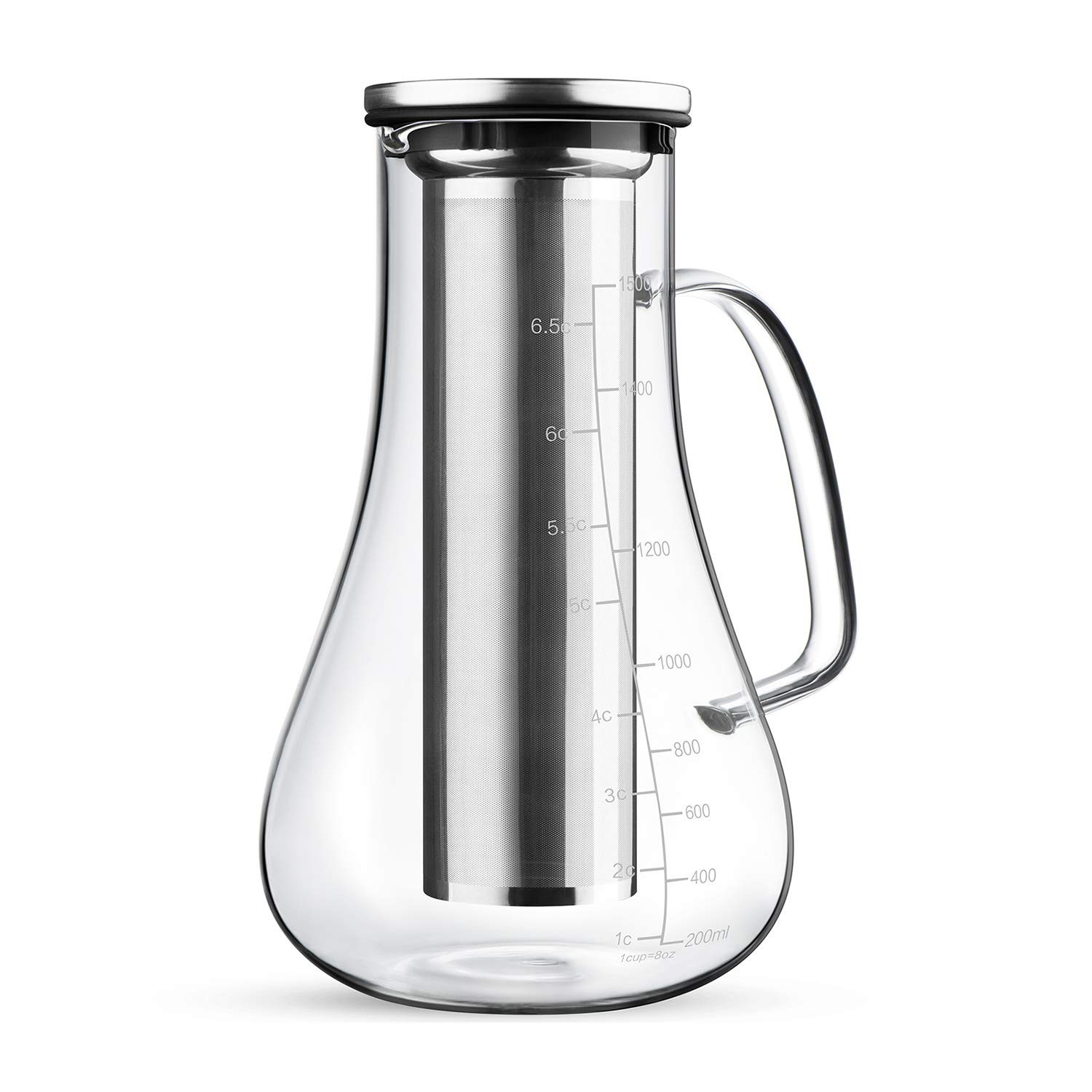 RooLee Cold Brew Coffee Maker Iced Tea Infuser 1.5L Airtight Glass Carafe Pitcher with Removable Stainless Steel Filter Large Capacity