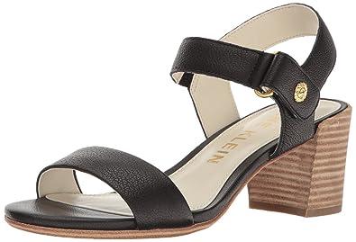 Anne Klein Women's Jackie Leather Heeled Sandal, Black, ...