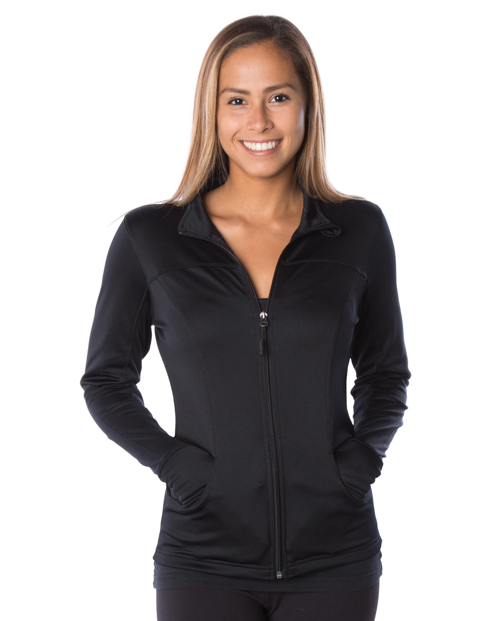Global Women's Slim Fit Lightweight Full Zip Yoga Workout Jacket S Black