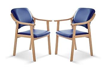 SUENOSZZZ - Pack de 2 Sillas Altea de Madera de Haya, Color Azul. Sillas para Comedor/Salon/habitacion | Silla geriatrica | Silla Madera | Mueble para ...