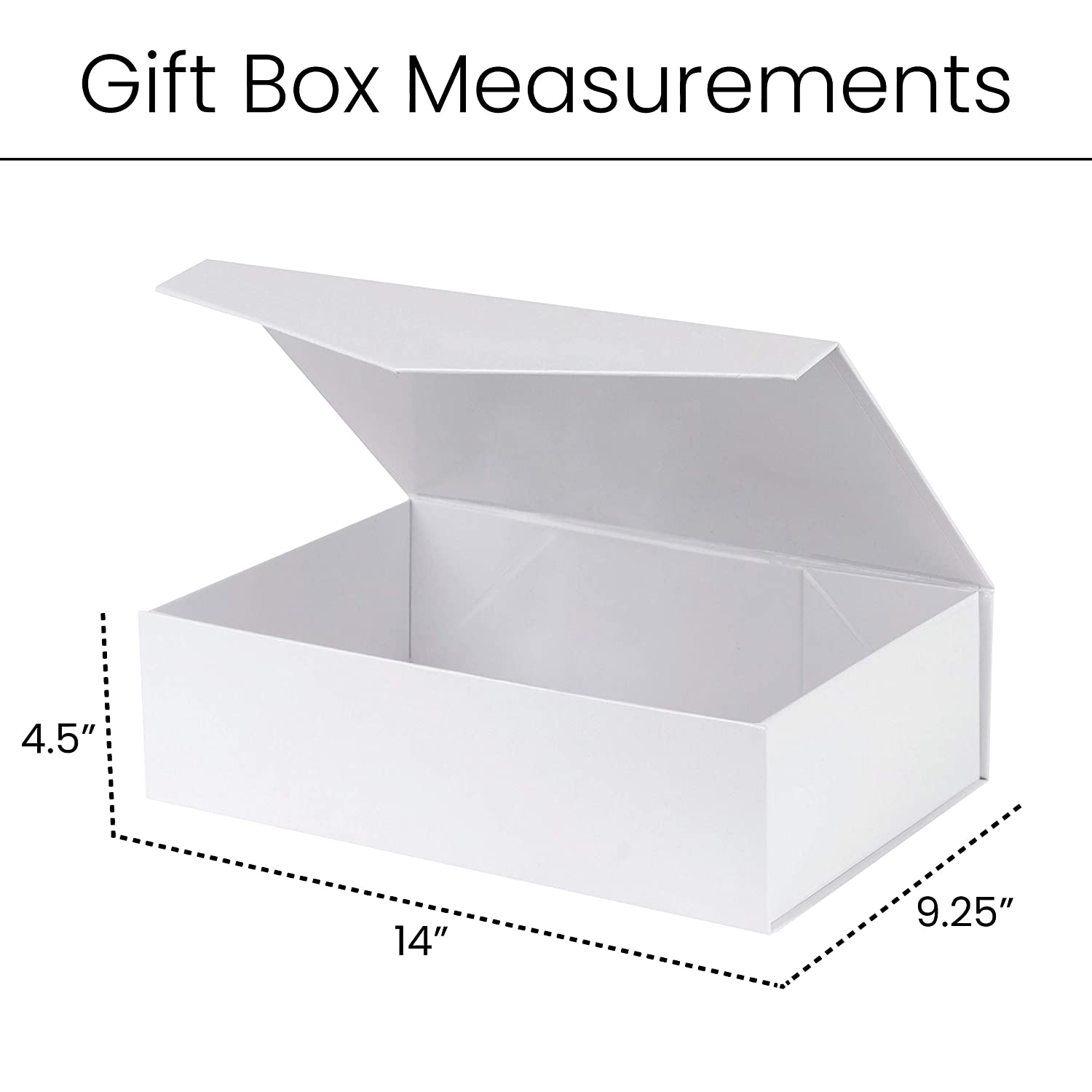 5 Pack White Hard Gift Box with Magnetic Closure Lid 14 X 9 X 4 Rectangular Sturdy Gift Boxes with White Glossy Finish