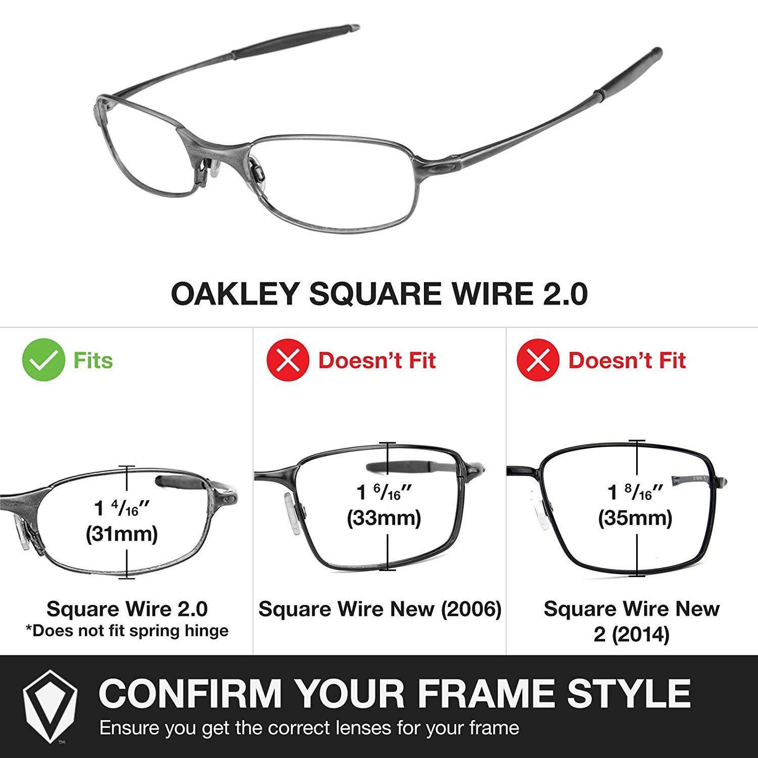 Oakley Wire Frame Replacement Lenses   Amazon Com Revant Polarized Replacement Lenses For Oakley Square
