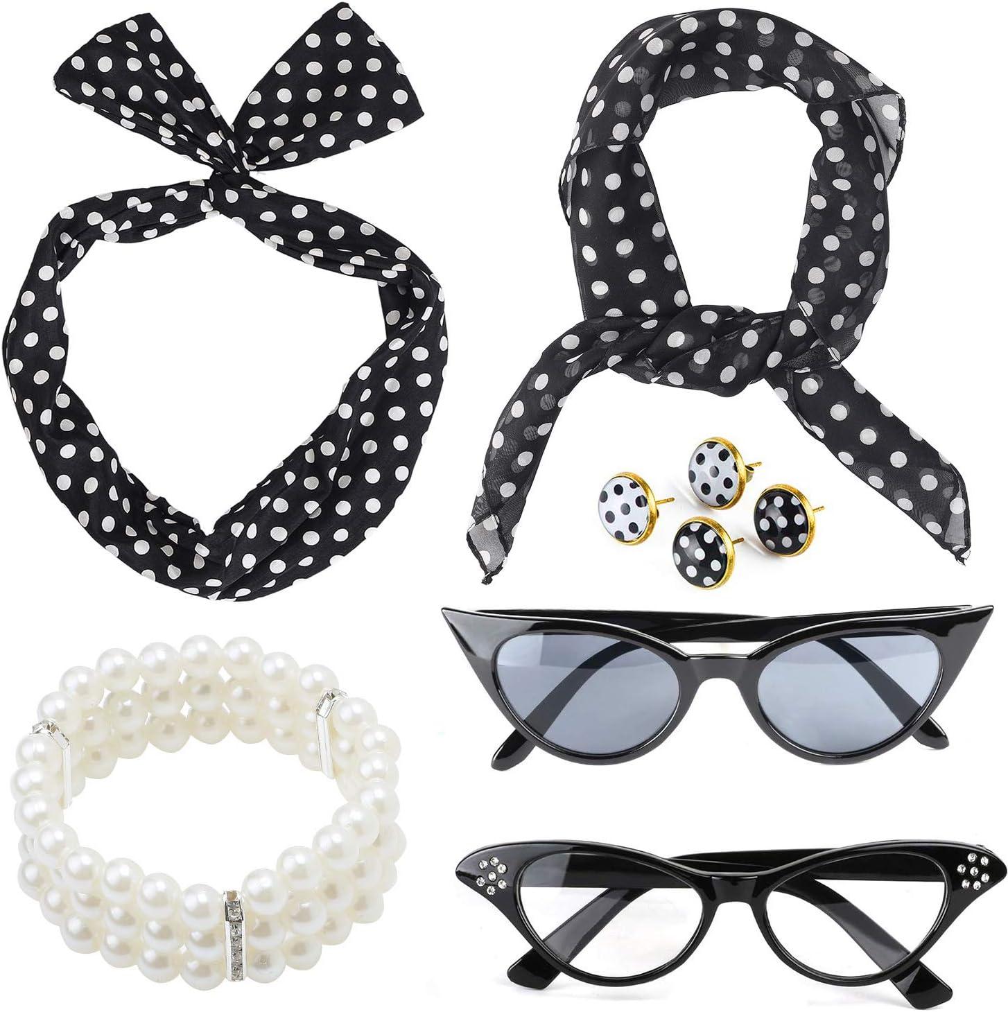 Beelittle 50's Women Costume Accessories Set Polka Dot Chiffon Scarf Bandana Tie Diadema Pendientes Retro Cat Eye Eglasses Pulsera de Perlas (Negro)