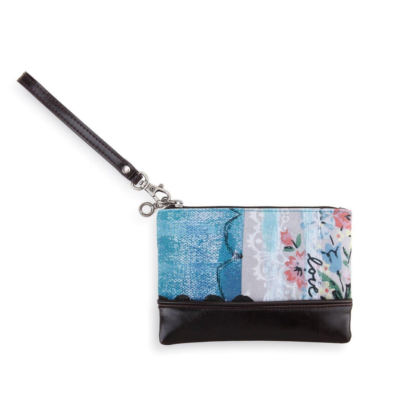 Love Floral Lace Blue Women's 7 x 5 Inch Cotton Canvas Wristlet Clutch