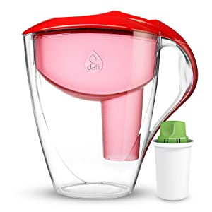 Dafi Astra LED 12 Cup Filtering Water Pitcher Red + Alkaline Filter Made in Europe BPA-Free