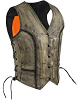 Women's Distressed Brown Long Cut Leather Motorcycle Vest With Side Laces Braid Trim