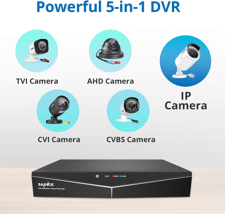SANNCE Kit de Seguridad de Visi/ón Nocturna en Color 4CH DVR H.264 5-en-1 con 1TB Disco Duro de Vigilancia CCTV 4 C/ámaras Sistema de Videovigilancia 1080P Acceso Remoto 1TB HDD