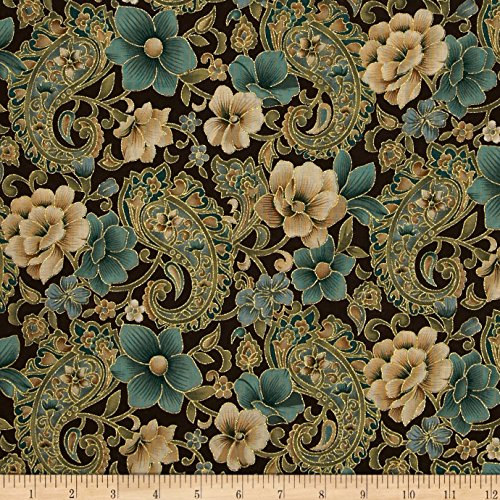 Fabric Traditions Marrakech Metallic Paisley Floral Brown Fabric by The Yard, Brown