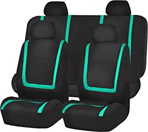FH Group FB032MINT114 Mint Unique Flat Cloth Car Seat Cover (w. 4 Detachable Headrests and Solid Bench)