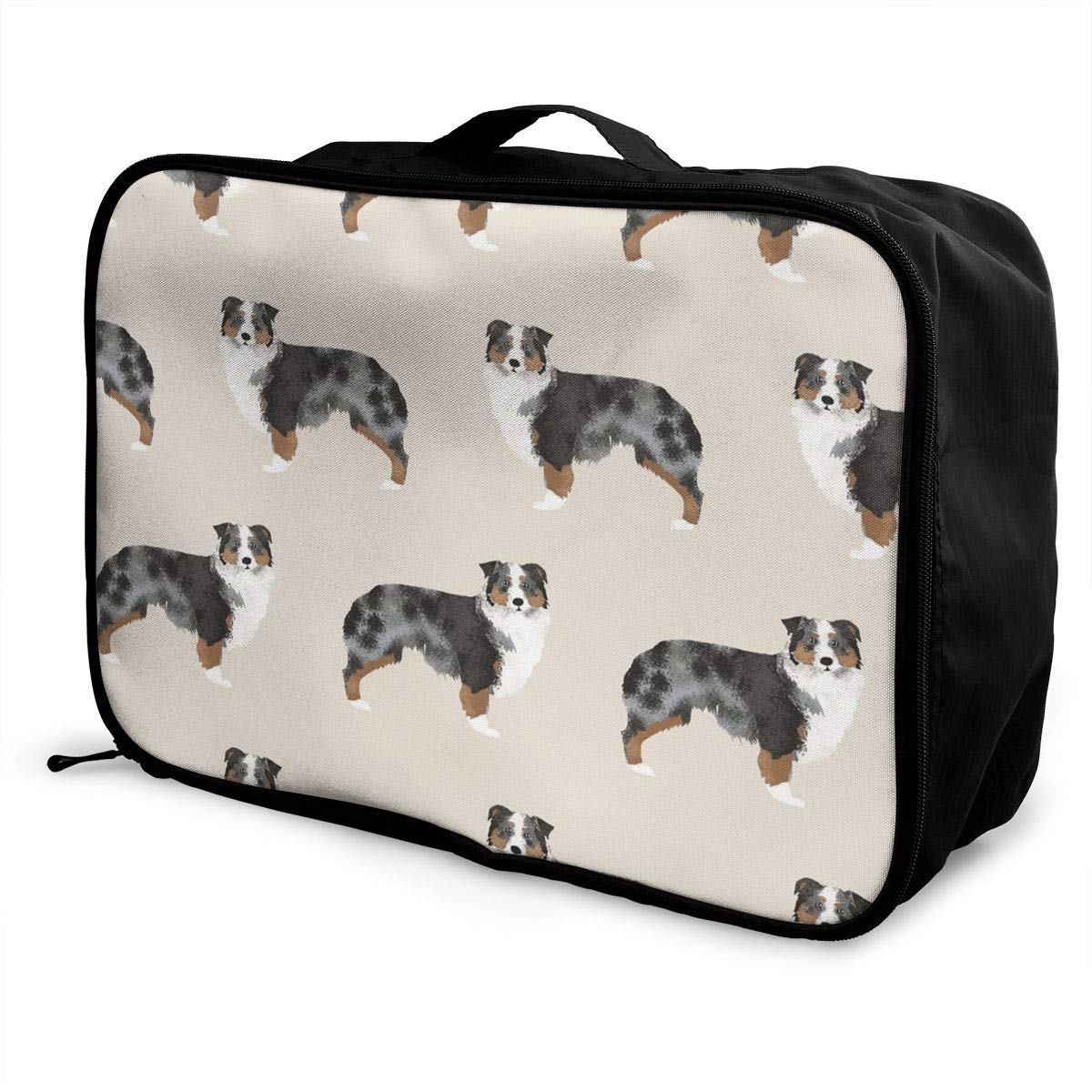 Fashion Australian Cattle Dog Pizzas Travel Duffel Bags 1Pack Waterproof Lightweight Large Capacity Portable Luggage Bag Weekend Bag