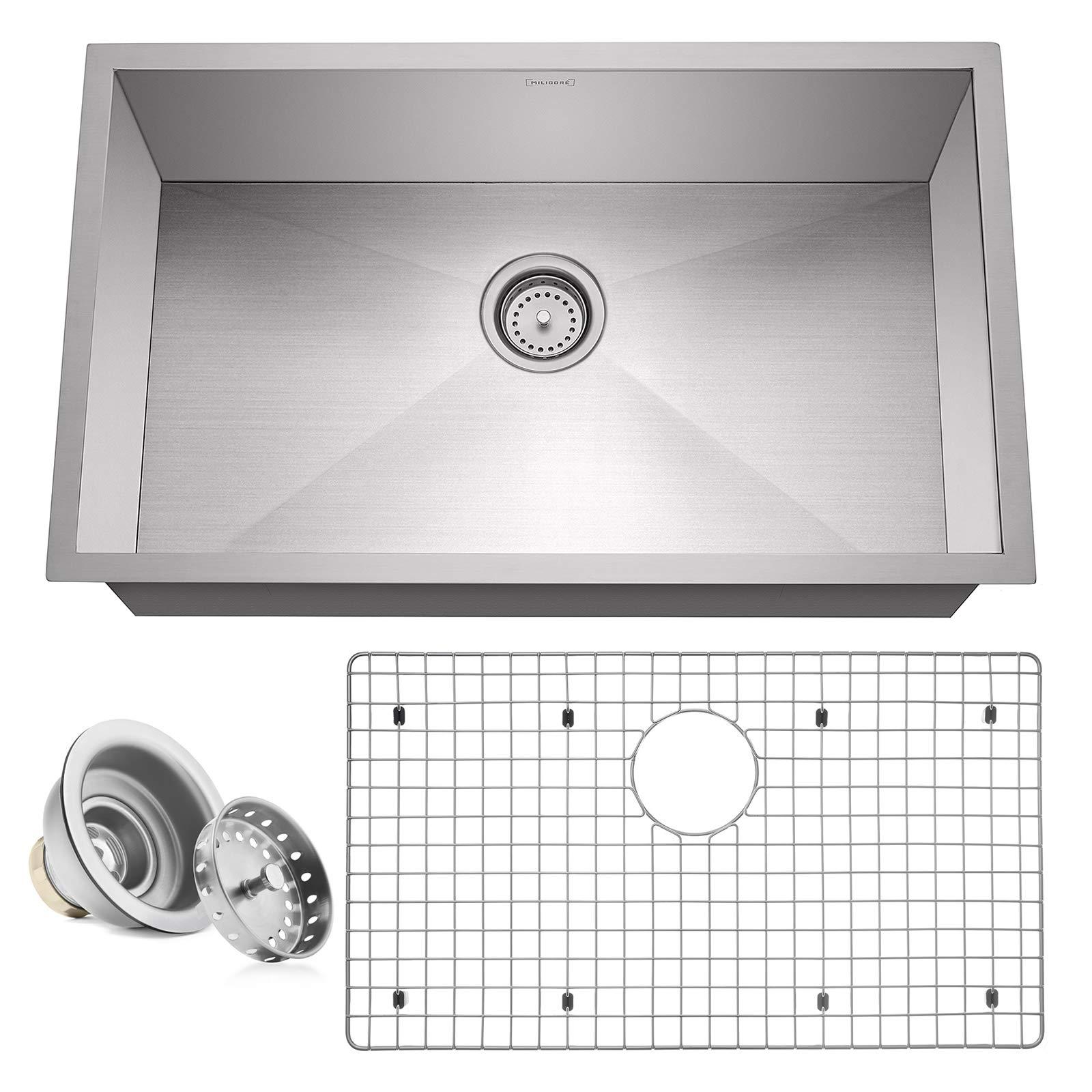 Miligore 30'' x 18'' x 10'' Deep Single Bowl Undermount Zero Radius 16-Gauge Stainless Steel Kitchen Sink - Includes Drain/Grid