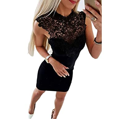 Ygosoon dress Women Lace Bandage Bodycon Slim Dress Clubwear Dresses Vestidos Mujer Black XS
