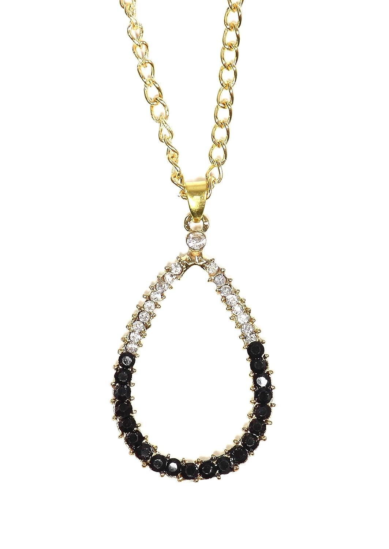 Magic Metal Crystal Teardrop Necklace Two Tone Pendant Gold Tone NO45 Fashion Jewelry