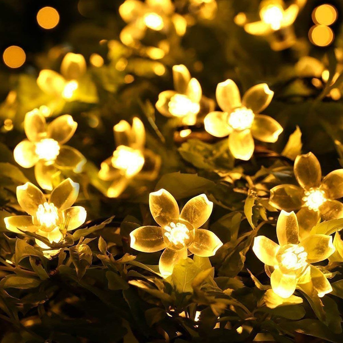 Lights Battery Operated String Lights Flower Led Fairy Light Outdoor Led Battery Garden Lights for Outdoor, Home, Lawn, Wedding, Patio, Party and Holiday Decorations 4 Modes 80 LED