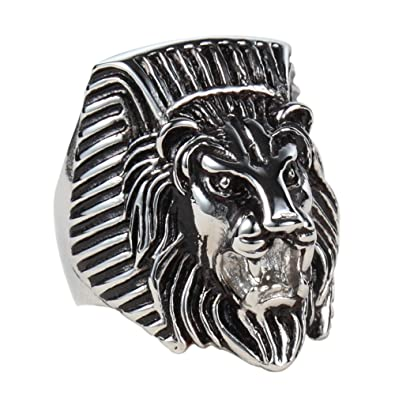 De hombre 316L acero inoxidable Faraón egipcio cabeza de león Classics - Anillo, plata negro: Amazon.es: Joyería