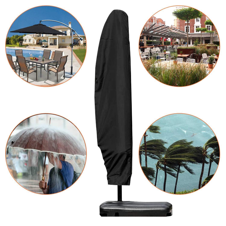 Noir respirant 210d Tissu Oxford 280cm Extra Large en porte-/à-faux pour parasol Parasol de jardin couvertures Housse de parasol de terrasse /étanche avec fermeture /Éclair et cordon de serrage