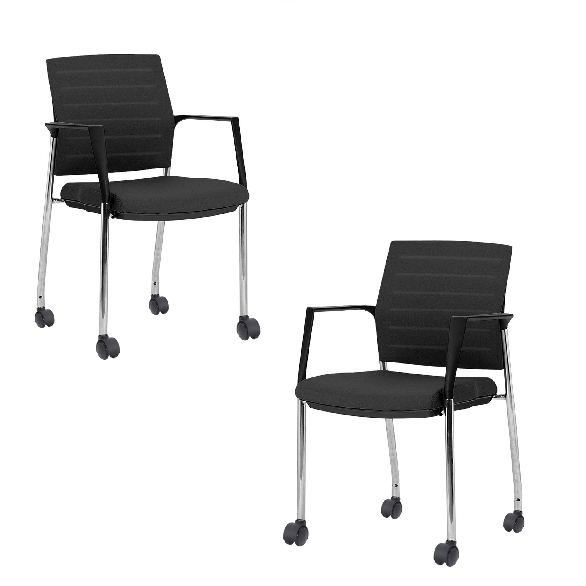 Mesh Upholstered Stacking Office Chair Guest/Reception Chair with Armrests-Modern Stackable Office Chair, Black 2 Sets (Black, Caster)