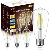DORESshop 6W Vintage Led Edison Bulbs, Daylight White 4000K, 60W Equivalent, ST58 Antique Style Edison Light Bulb, 4000K Dayl