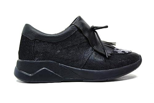 Lee Roy Zapatillas de Deporte de Las Mujeres Negras, Cuero Negro L381 colección otoño Invierno 2016 2017: Amazon.es: Zapatos y complementos