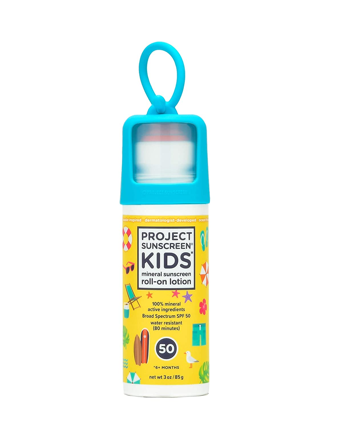 Project Sunscreen Roll-On SPF 50 Sun Protection for Kids - Natural Mineral Based and Water Resistant Formula For Sensitive Skin - 3 Ounce, Here Comes The Sun - Yellow