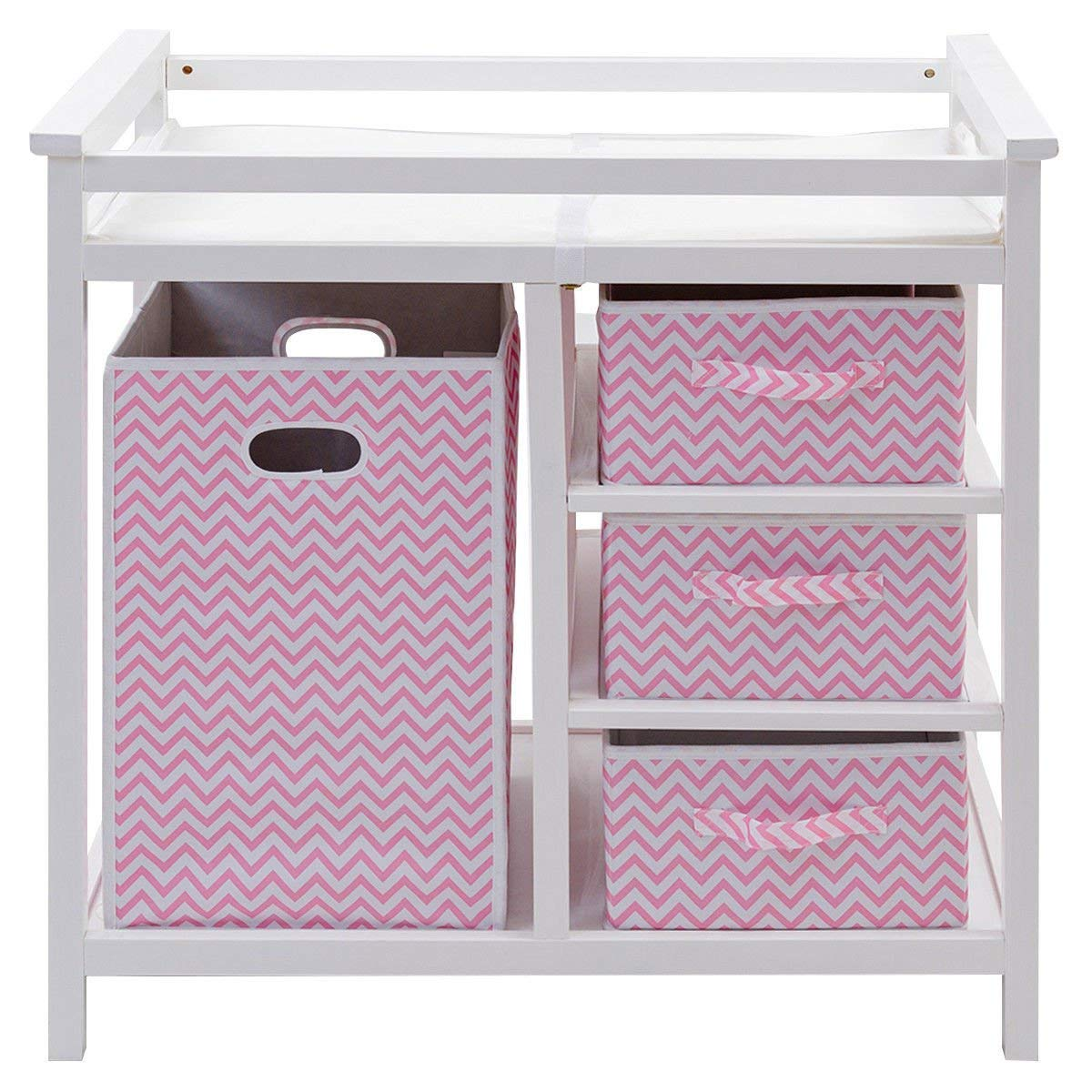 HONEY JOY Baby Changing Table, Diaper Storage Nursery Station with Hamper and 3 Baskets (White+Pink) by HONEY JOY
