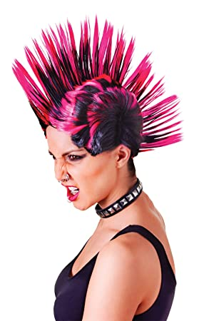 Bristol Novelty bw903 Mohican mujeres peluca, color rosa/negro, talla única: Amazon.es: Juguetes y juegos