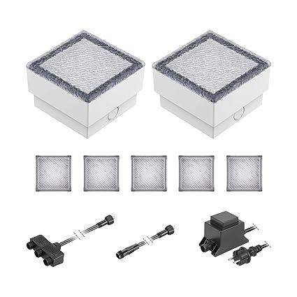 12V LED Pflaster-Stein Gorgon Boden-Einbauleuchte für außen 15x15cm warm-weiß