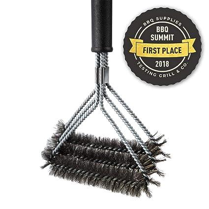 Blumtal Cepillo para Parrilla | 3 Cepillos Metálicos En 1 para Limpiar La Barbacoa | De