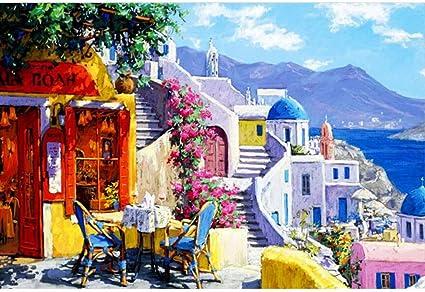 Puzzle House- Santorini, Grecia, Mar Egeo, Rompecabezas de Tilo Corte y Ajuste Finos, Madera 300/500/1000/1500 Piezas Juego de puzles Juguetes Arte Pintura para Adultos y niños -0411 (Size : 500pc) :
