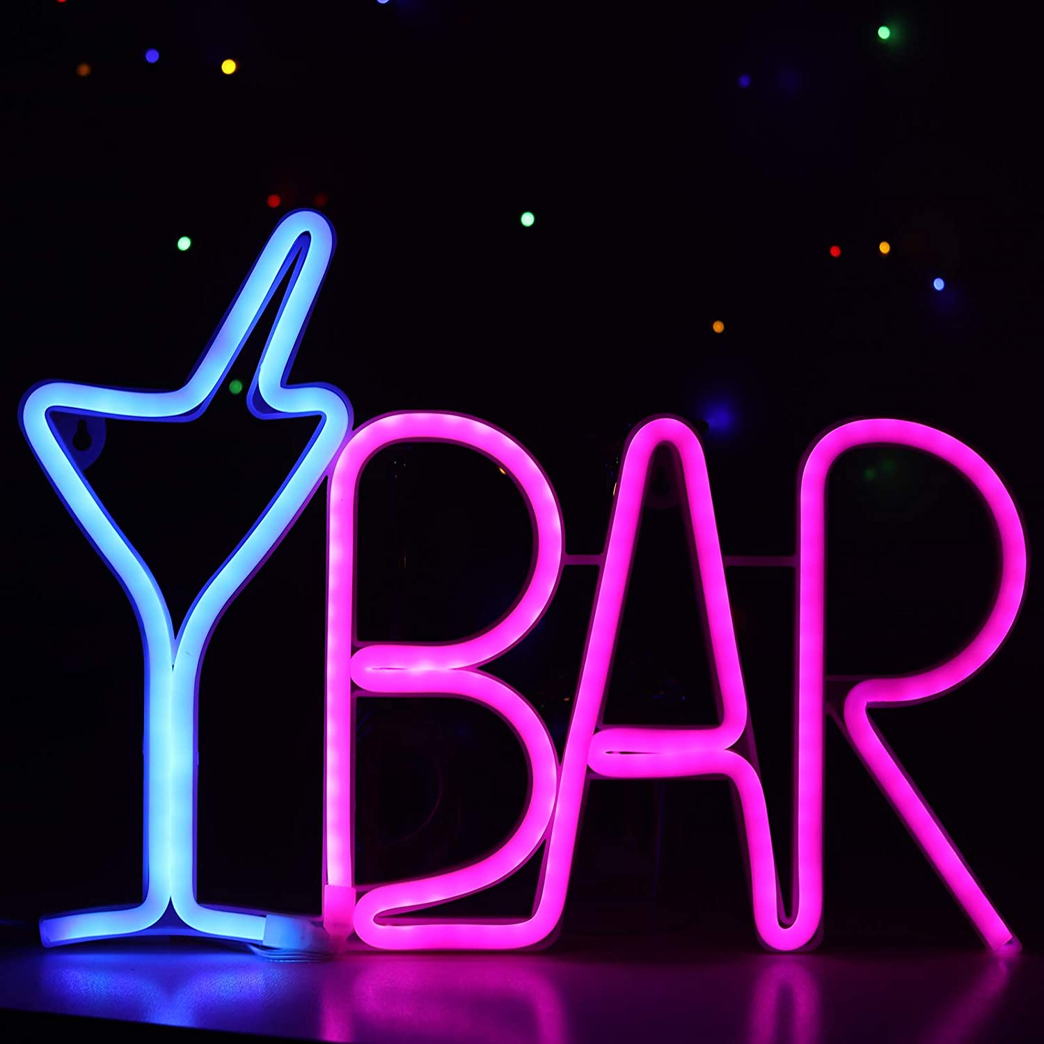 LED Bar Sign Neon Light USB Powered Blue Cocktail Glass & Pink BAR Light Up Letter Advertisement Board Electric Display Sign for Business Wall Art Décor for Pub, Bistro, Party,Man Cave,Lair(BARBP)