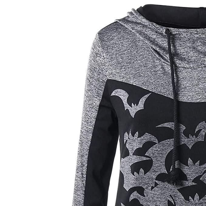 Funnel Neck Hoodie, Clearance! Duseedik Women Halloween Party Bats Print Long Sleeve Hooded Tops Pullover Sweatshirt at Amazon Womens Clothing store: