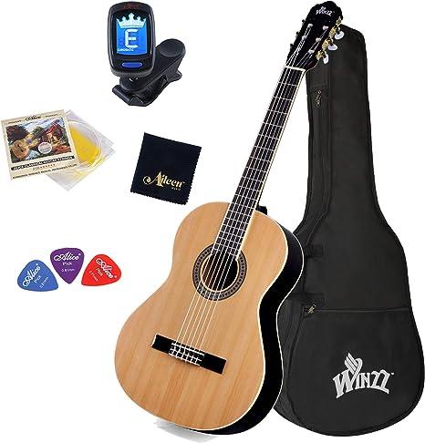 Winzz Guitarra Clásica Tamaño Completo 4/4 para Adultos y Estudiantes, Estructura de Arriostramiento Única Kit de Inicio de Guitarra de 39 Pulgadas - Natural Brillante: Amazon.es: Instrumentos musicales