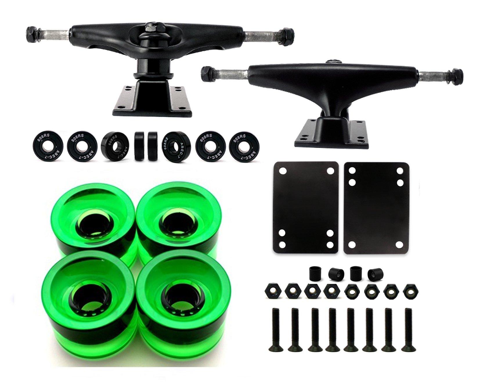 VJ Skateboard Truck and Wheel, 5.0 Skateboard Trucks (Black) w/Skateboard Crusier Wheel 60mm, Skateboard Bearings, Skateboard Screws, Skateboard Riser Pads (Gel Green) by VJ