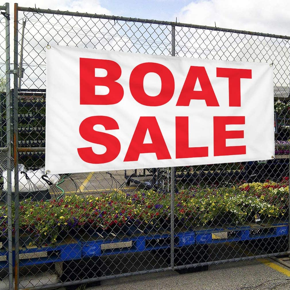 Vinyl Banner Multiple Sizes Boat Sale Red Business Outdoor Weatherproof Industrial Yard Signs 10 Grommets 60x144Inches