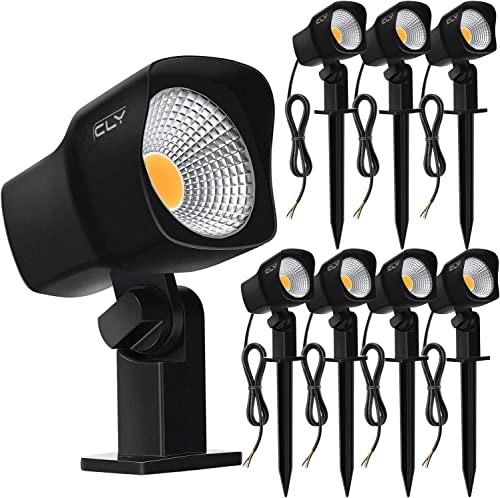CLY 5W LED Landscape Spotlights Low Voltage Garden Pathway Lights IP66 Waterproof Warm White for Outdoor Lights,Swimming Pool,Patio,Driveway, Yard, Lawn 8 Pack Black