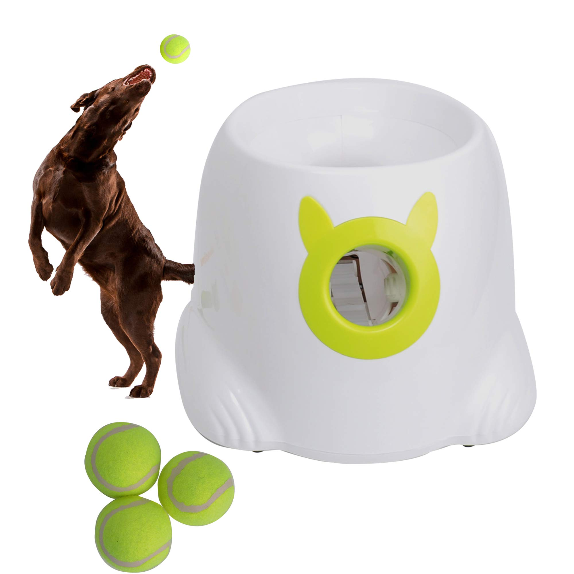 LUCKYERMORE Automatic Dog Ball Launcher Thrower Interactive Throwing and Fetch Dog Toy Mini Tennis Balls for Dog Indoor Outdoor Playing by LUCKYERMORE