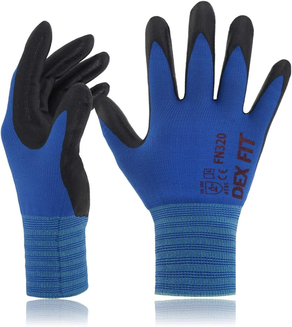 DEX FIT Gardening Work Gloves FN320, 3D Comfort Stretch Fit, Power Grip, Thin Lightweight, Durable Foam Nitrile Coating, Machine Washable, Blue Medium 3 Pairs Pack