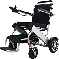 """Bangeran Electric Wheelchair Folding Lightweight 50 lbs with Batteries Heavy Duty Supports 360 lbs Aircraft Grade Aluminum Alloy Frame More Strength,12"""" Rigid Rubber Tyre Wheel More Stable"""