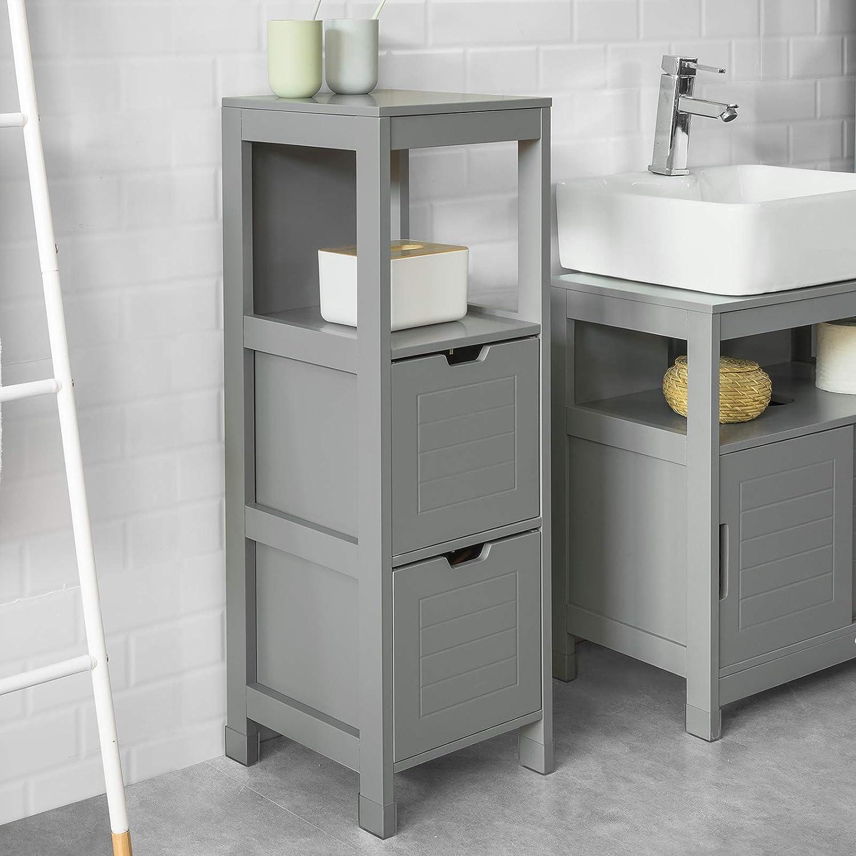 SoBuy FRG127-SG Badkommode Badschrank mit Fußpolster Kommode Badezimmer  stahlgrau