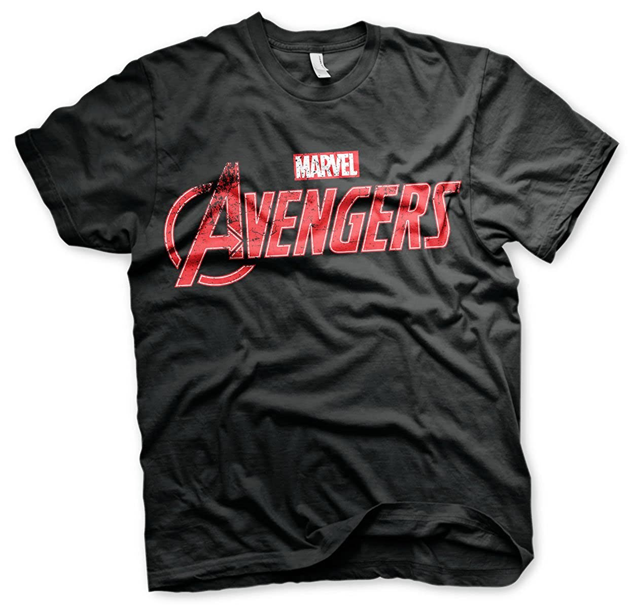 Nera The Avengers Licenza Ufficiale Distressed Logo Uomo Maglietta