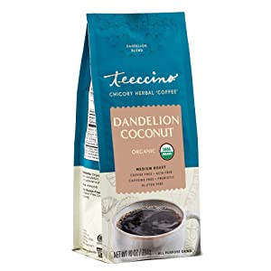 Teeccino Coffee Alternative – Dandelion Coconut – Detox Deliciously with Dandelion Herbal Coffee That's Prebiotic, Caffeine Free & Gluten Free, Medium Roast, 10 Ounce