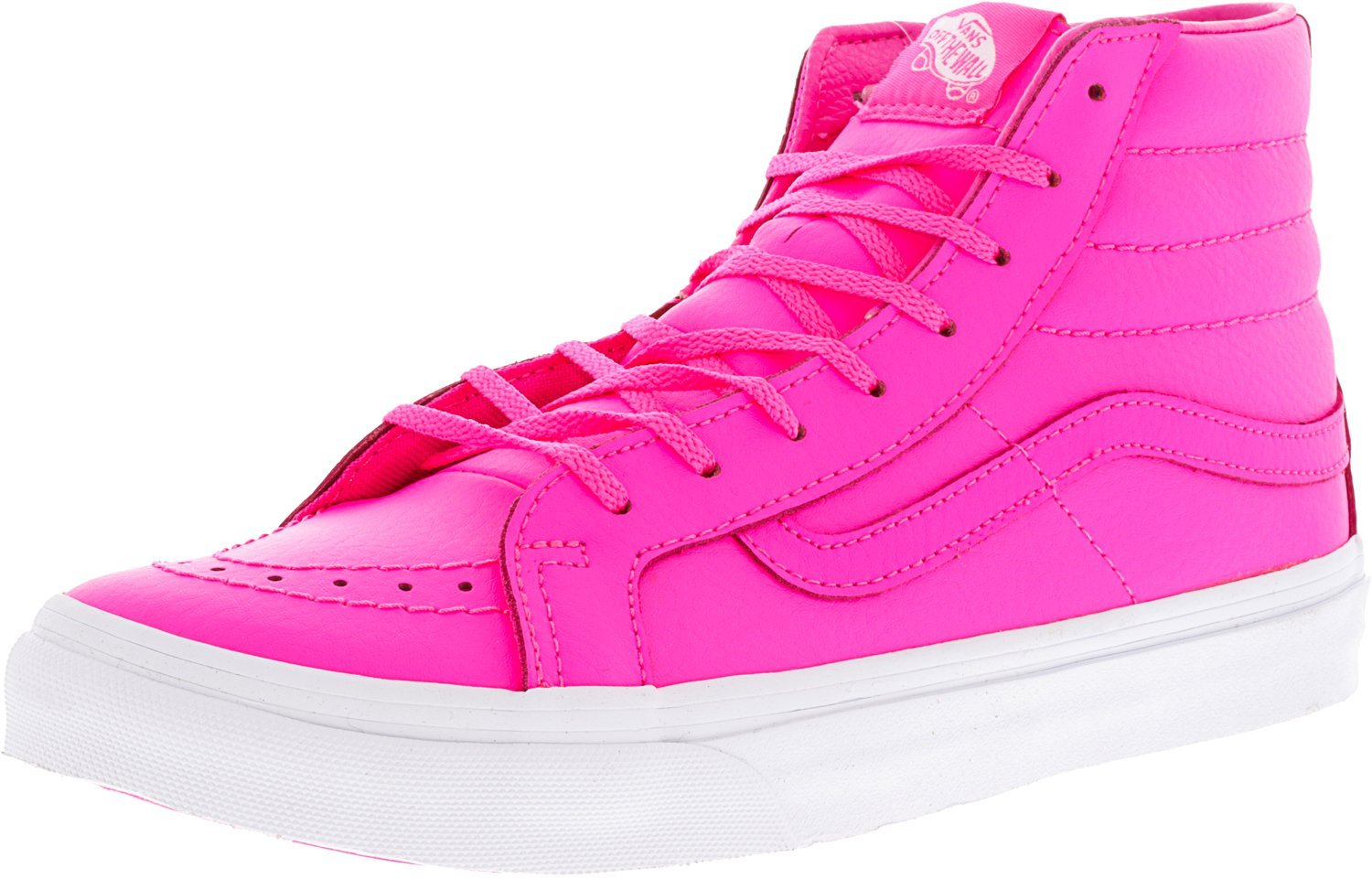 Vans Unisex Perf Leather Sk8-Hi Slim Zip True White Sneaker - 7.5 B01I2CL6FK 9.5-Women/8-Men Medium (D, M) US|Neon Pink