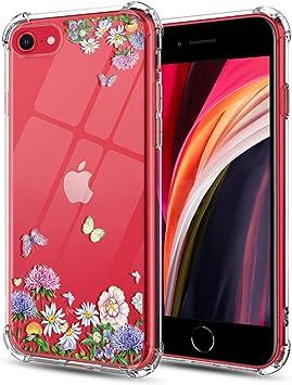 Huness Coque pour iPhone SE 2020, iPhone 8, iPhone 7, iPhone SE, iPhone SE, 2ème étui, série fleur, anti-choc, coque de protection en TPU souple pour ...